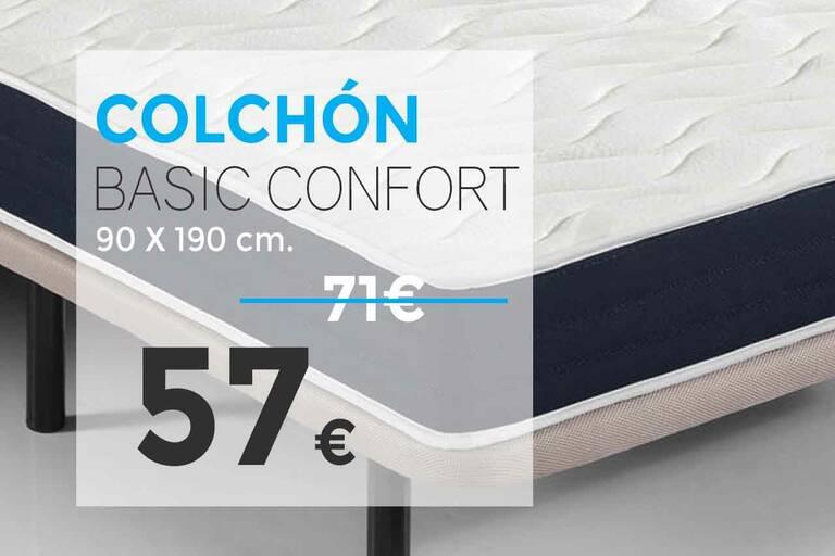 Ofertas en colchones 20 % de descuento. Modelo Outlet Basic Confort. Tienda online Outlet del Colchón.